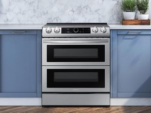 """NE63T8751SS Samsung 30"""" Samsung Flex Duo Front Control Wifi Enabled Slide-In Electric Range with Air Fry and Smart Dial - Fingerprint Resistant Stainless Steel"""