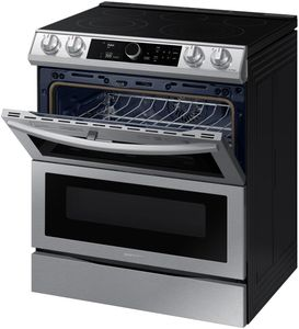 "NE63T8751SS Samsung 30"" Samsung Flex Duo Front Control Wifi Enabled Slide-In Electric Range with Air Fry and Smart Dial - Fingerprint Resistant Black Stainless Steel"