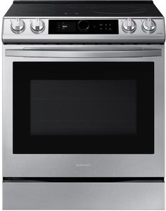 """NE63T8911SS Samsung 30"""" 6.3 cu ft Smart Front Control Slide In Induction Range with Smart Dial and Air Fry - Fingerprint Resistant Stainless Steel"""