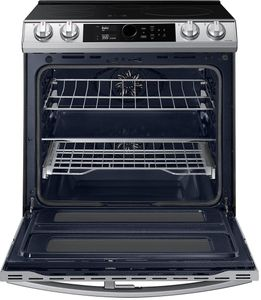 """NE63T8951SS Samsung 30"""" 6.3 cu ft Smart Flex Duo Front Control Slide In Induction Range with Smart Dial and Air Fry - Fingerprint Resistant Stainless Steel"""