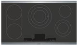 "NETP668SUC Bosch 36"" Benchmark Series 5 Element Electric Cooktop with AutoChef Technology and PreciseSelect - Black with Stainless Steel Trim"