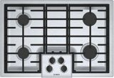 """NGM5056UC Bosch 30"""" 500 Series 4 Burner Gas Cooktop with Continuous Grates and Heavy OptiSim Burner - Stainless Steel"""