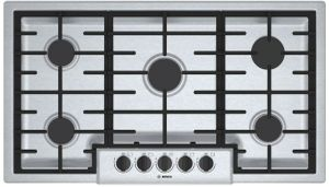 """NGM5656UC Bosch 36"""" 500 Series 5 Burner Gas Cooktop with Continuous Grates and OptiSim Burner - Stainless Steel"""
