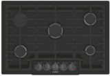 "NGM8046UC Bosch 30"" 5 Burner Gas Cooktop with Black Stainless Knobs and Powerful 19,000 BTU Burner for Boiling - Black Stainless Steel"