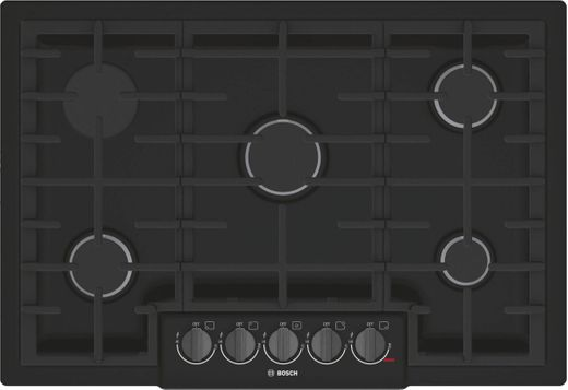 """NGM8046UC Bosch 30"""" 5 Burner Gas Cooktop with Black Stainless Knobs and Powerful 19,000 BTU Burner for Boiling - Black Stainless Steel"""