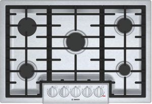 """NGM8056UC Bosch 30"""" 800 Series 5 Burner Gas Cooktop with Electronic Re-ignition and OptiSim Burner - Stainless"""