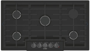 "NGM8646UC Bosch 36"" 5 Burner Gas Cooktop with Black Stainless Knobs and Powerful 19,000 BTU Burner for Boiling - Black Stainless Steel"