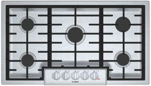 """NGM8656UC Bosch 36"""" 800 Series 5 Burner Gas Cooktop with Electronic Re-ignition and OptiSim Burner - Stainless Steel"""