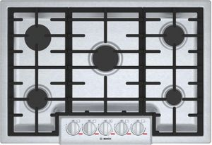 "NGMP056UC Bosch 30"" Benchmark Series 5 Burner Gas Cooktop with OptiSim Burner and Heavy Duty Knobs - Stainless Steel"
