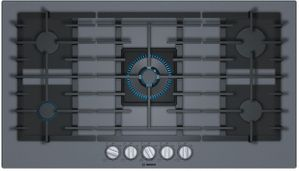 """NGMP677UC Bosch 36"""" Benchmark Series 5 Burner Gas Cooktop with OptiSim Burner and FlameSelect - Gray Tempered Glass"""