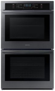 """NV51R5511DG Samsung 30"""" Double Wall Oven with Glass Touch Digital Controls and Easy View Window - Fingerprint Resistant Black Stainless Steel"""