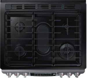 """NX58K9500WG Samsung 30"""" Slide-In Gas Range with 5 Sealed Burners, 5.8 cu. ft. True Convection Oven and 18,000 BTU True Dual Power Burner - Black Stainless"""
