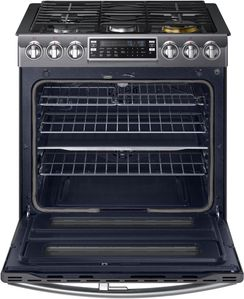 "NX58K9850SG Samsung 30"" Flex Duo  5.8 Cu. Ft. Slide-In Gas Range with Dual Door and WiFi Connectivity - Black Stainless Steel"