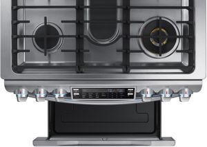 """NX58K9850SS Samsung 30"""" Flex Duo  5.8 Cu. Ft. Slide-In Gas Range with Dual Door and WiFi Connectivity - Stainless Steel"""
