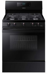 "NX58M5600SB Samsung 33"" Free Standing Gas Range with Convection and Grate Indicator Marks - Black"