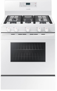 """NX58M5600SW Samsung 30"""" Free Standing Gas Range with Convection and Grate Indicator Marks - White"""