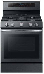 "NX58M6630SG Samsung 30"" True Convection 5.8 cu. ft Capacity Free Standing Gas Range with Blue LED Illuminated Knobs and Touch Controls - Finger Print Resistant Black Stainless Steel"