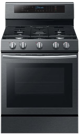 """NX58M6630SG Samsung 30"""" True Convection 5.8 cu. ft Capacity Free Standing Gas Range with Blue LED Illuminated Knobs and Touch Controls - Finger Print Resistant Black Stainless Steel"""
