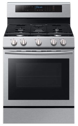 "NX58M6630SS Samsung 30"" True Convection 5.8 cu. ft Capacity Free Standing Gas Range with Blue LED Illuminated Knobs and Touch Controls - Stainless Steel"