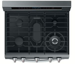 """NX58M6650WG Samsung 30"""" True Convection 5.8 cu. ft Capacity Free Standing Gas Range with Blue LED Illuminated Knobs and Touch Controls - Black Stainless Steel"""