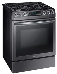 """NX58N9420SG Samsung 30"""" 5.8 cu. ft. Slide-In Gas Range with Dual Fan Convection and Glass Touch Controls - Fingerprint Resistant Black Stainless Steel"""