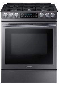 "NX58N9420SG Samsung 30"" 5.8 cu. ft. Slide-In Gas Range with Dual Fan Convection and Glass Touch Controls - Fingerprint Resistant Black Stainless Steel"