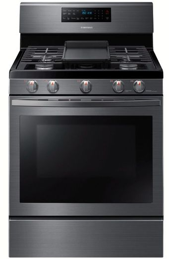 "NX58R5601SG Samsung 30"" 5.8 cu. ft. Freestanding Gas Range with Self Clean and Fan Convection - Fingerprint Resistant Black Stainless Steel"