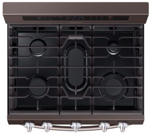 "NX58R6631ST Samsung 30"" True Convection 5.8 cu. ft Capacity Free Standing Gas Range with Blue LED Illuminated Knobs and Touch Controls - Fingerprint Resistant Tuscan Stainless Steel"