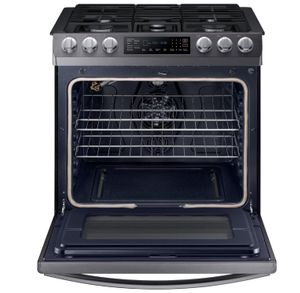 """NX58R9421SG Samsung 30"""" 5.8 cu. ft. Slide-In Gas Range with Fan Convection and Wifi Connectivity - Fingerprint Resistant Black Stainless Steel"""