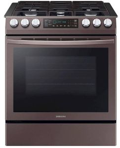 "NX58R9421ST Samsung 30"" 5.8 cu. ft. Slide-In Gas Range with Dual Fan Convection and Glass Touch Controls - Fingerprint Resistant Tuscan Stainless Steel"