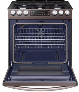 """NX58R9421ST Samsung 30"""" 5.8 cu. ft. Slide-In Gas Range with Dual Fan Convection and Glass Touch Controls - Fingerprint Resistant Tuscan Stainless Steel"""