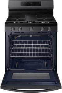 """NX60A6311SG Samsung 30"""" Smart Gas Range with 5 Burners and Integrated Griddle - Fingerprint Resistant Black Stainless Steel"""