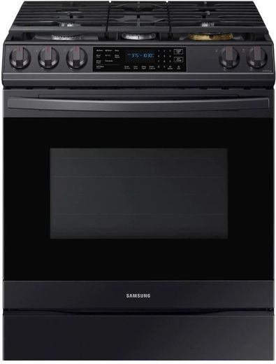 """NX60T8511SG Samsung 30"""" Front Control Wifi Enabled Slide-In Gas Range with Air Fry and Convection - Fingerprint Resistant Black Stainless Steel"""