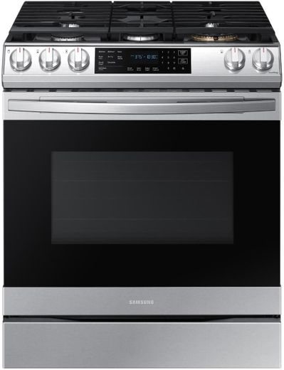 """NX60T8511SS Samsung 30"""" Front Control Wifi Enabled Slide-In Gas Range with Air Fry and Convection - Fingerprint Resistant Stainless Steel"""