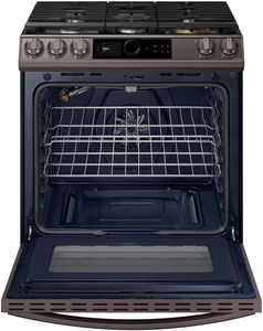 """NX60T8711ST Samsung 30"""" Front Control Wifi Enabled Slide-In Gas Range with Air Fry and Smart Dial - Fingerprint Resistant Tuscan Stainless Steel"""