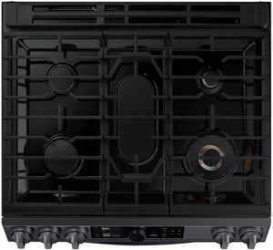 """NY63T8751SG Samsung 30"""" Flex Duo Front Control Wifi Enabled Slide-In Dual Fuel Range with Air Fry and Smart Dial - Fingerprint Resistant Black Stainless Steel"""