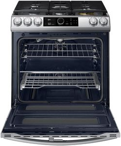 """NY63T8751SS Samsung 30"""" Flex Duo Front Control Wifi Enabled Slide-In Dual Fuel Range with Air Fry and Smart Dial - Fingerprint Resistant Stainless Steel"""