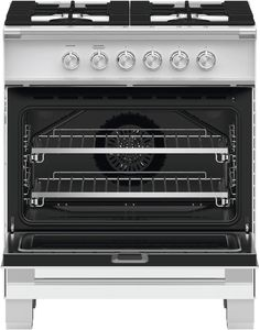 "OR30SCG4W1 Fisher & Paykel 30"" Classic Style Gas Range with Multi-Shelf Cooking and Easy Cleaning - White"