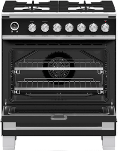 "OR30SCG6B1 Fisher & Paykel 30"" Classic Style Dual Fuel Range with Self-Clean Oven and AeroTech System - Black"