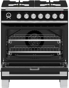 """OR30SCG6B1 Fisher & Paykel 30"""" Classic Style Dual Fuel Range with Self-Clean Oven and AeroTech System - Black"""