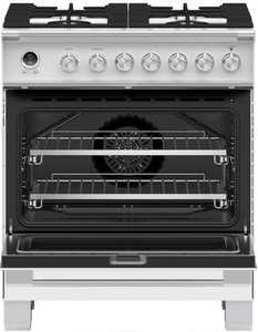 """OR30SCG6W1 Fisher & Paykel 30"""" Classic Style Dual Fuel Range with Self-Clean Oven and AeroTech System - White"""