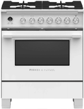 "OR30SCG6W1 Fisher & Paykel 30"" Classic Style Dual Fuel Range with Self-Clean Oven and AeroTech System - White"