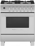 "OR30SCG6X1 Fisher & Paykel 30"" Classic Style Dual Fuel Range with Self-Clean Oven and AeroTech System - Stainless Steel"
