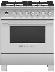 """OR30SDG6X1 Fisher & Paykel 30"""" Contemporary Style Dual Fuel Range with Self-Clean Oven and Aerotech System - Stainless Steel"""