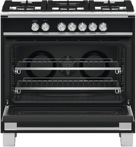 "OR36SCG4B1 Fisher & Paykel 36"" Classic Style Gas Range with Multi Shelf Cooking and Easy Cleaning - Black"