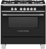 "OR36SCG6B1 Fisher & Paykel 36"" Freestanding Dual Fuel Rang with AeroTech Technology and Self-Clean - Black"