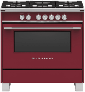 "OR36SCG6R1 Fisher & Paykel 36"" Freestanding Dual Fuel Rang with AeroTech Technology and Self-Clean - Red"