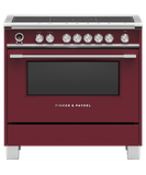 "OR36SCI6R1 Fisher & Paykel 36"" Series 9 Classic 5 Zone Induction Range with Convection Oven and Self Clean - Red"