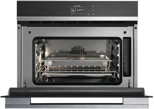 """OS24NDB1 Fisher & Paykel 24"""" Built-in Combination Steam Oven with CoolTouch Door and Smooth Stainless Steel Interior - Black Glass"""