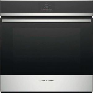 """OS24SDPTX1 Fisher & Paykel 24"""" Series 9 Minimal Single Built In Oven with Steam and Touch Display - Black with Stainless Steel Trim"""